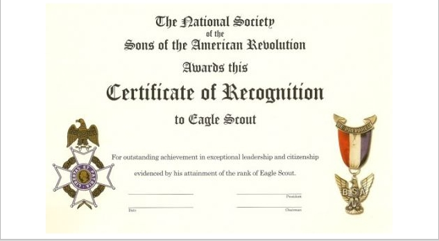 Eagle Scout Recognition Certificate